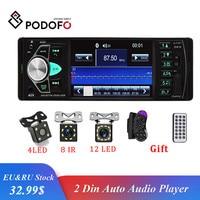 Podofo 4.1 inch 1 Din Radio Car Auto Audio Stereo autoradio Bluetooth Support Rear View Camera USB Steering Wheel Remote Control