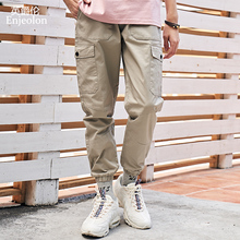 Enjeolon Brand Men Casual Pants Fashion Summer Spring Pocket Cargo Long Straight Male Trousers Plus Size Joggers Man K6613