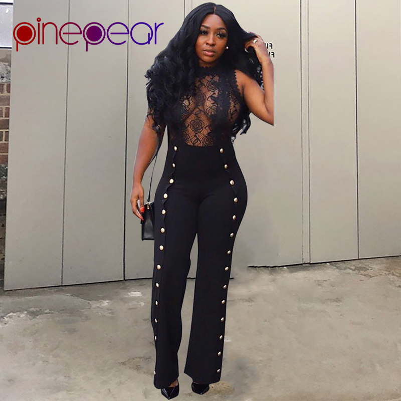 cbef6a1f2972 Detail Feedback Questions about PinePear Double Breasted Sexy Lace Jumpsuit  Women 2019 Spring Autumn Sleeveless See Through Metal Button Romper Drop ...