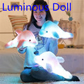 Hot sale 45cm Creative Luminous Dolphin Plush toy Luminous LED Pillow  Colorful LED Doll Kids Children Party Birthday Gifts