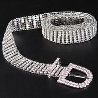 Luxury Rhinestone Jean Belt Women European Ladies Rhinestone Pin Buckle Belts Waistband Brand Female Rivet Caestus Dress Belt