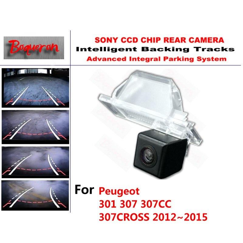 Pour Peugeot 301 307 307CC 307 CROSS 2012 ~ 2015 CCD caméra de recul de voiture voies intelligentes guidage dynamique caméra de recul
