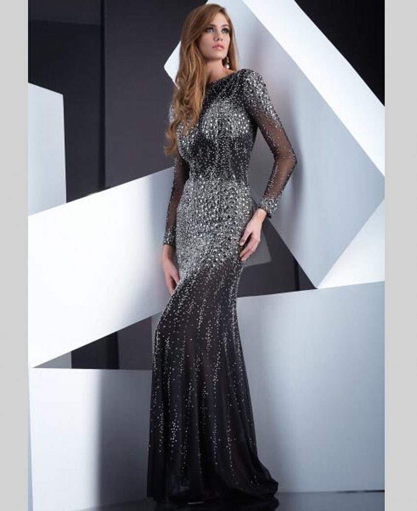Luxury Crystal Beaded Rhinestone Long Sleeve Mermaid Evening Dresses ...