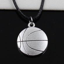 Nieuwe Mode Hanger Dubbelzijdig Basketbal Ketting Choker Zwart Lederen Koord Fabriek Prijs Handgemaakte Sieraden