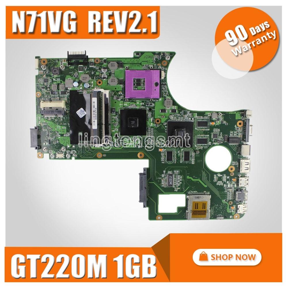 Original Motherboard For ASUS  N71V N71VG Motherboard N71VG Mainboard Rev2.1 GT220M 1GB 100% Fully Tested