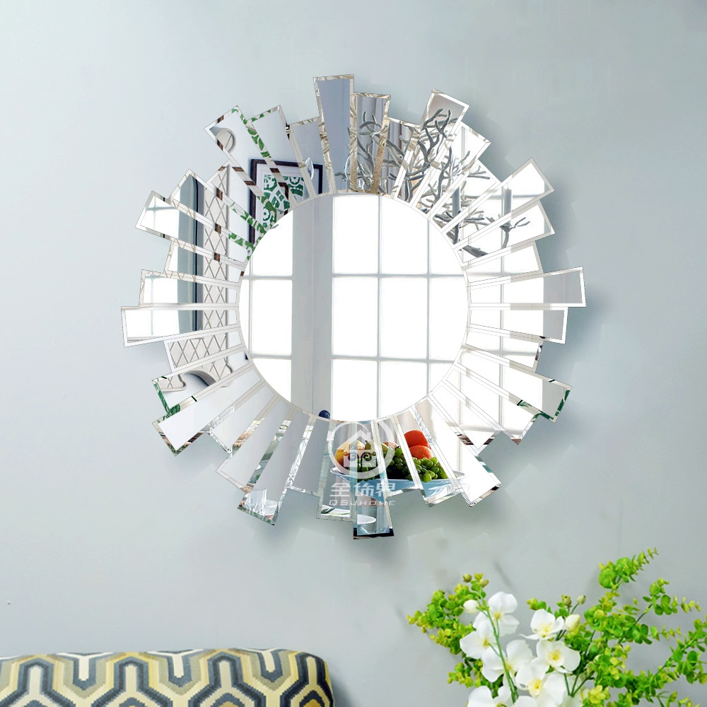 Decorative Mirror Us 220 Modern Round Wall Mirror Glass Console Sunburst Mirror Venetian Mirror Wall Decorative Mirrored Art M F2094 In Decorative Mirrors From Home