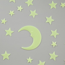 Decorative painting luminous star wall stickers bedroom fluorescent plastic decorative stars moon suit