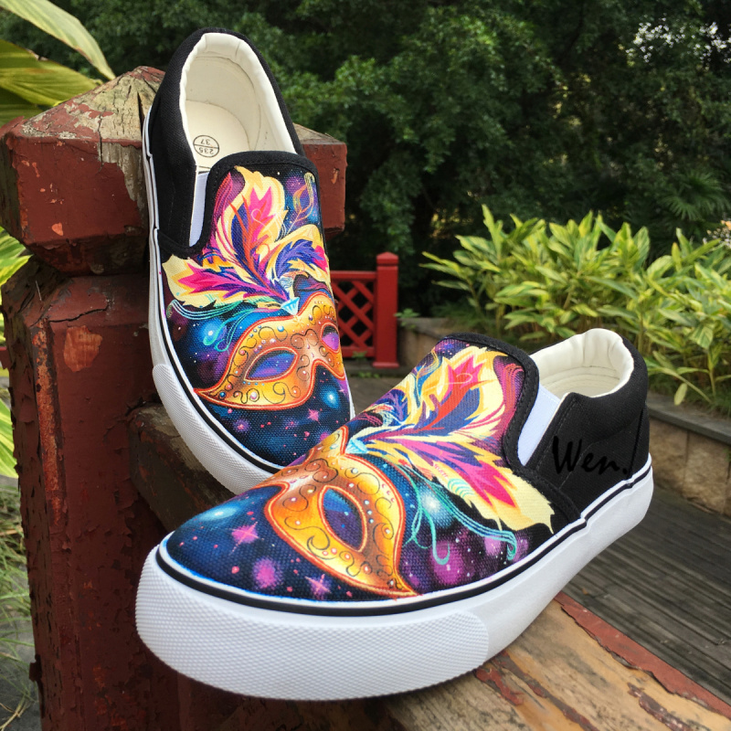 Wen Hand Painted Design Mask with Colorful Feathers Shining Starlight Canvas Women Flats Slip On Black Shoes Girls Sneakers