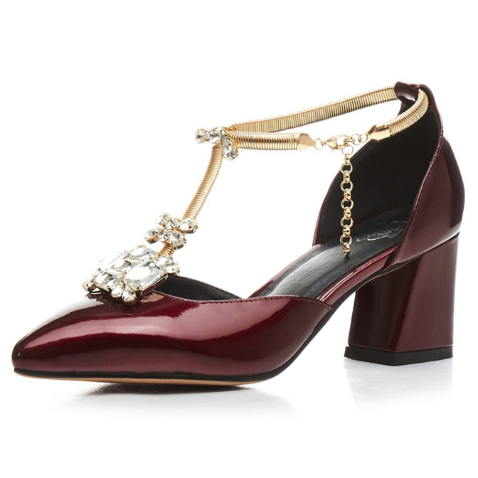 (Wine red, Silver) 2017 Summer Full Grain Leather Classics Sexy sandals fashion Rhinestone Party shoes for women size:33-43 black red 2015 full grain leather women s summer comfortable shoes pointed toe rhinestone fashion flat heel shoes for women