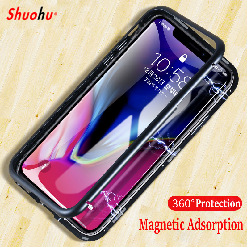 SHUOHU Magnetic Adsorption Case for iPhone X 8 7 Plus Clear Tempered Glass Built-in Magnet Case for iPhone 7 6 Metal Ultra Cover
