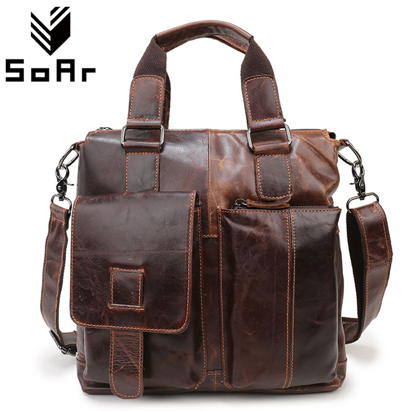 SoAr Genuine Leather Bag Vintage Shoulder Bag Crossbody Designer Handbags High Quality Men Messenger Bags Male Laptop Briefcase chispaulo women genuine leather handbags cowhide patent famous brands designer handbags high quality tote bag bolsa tassel c165
