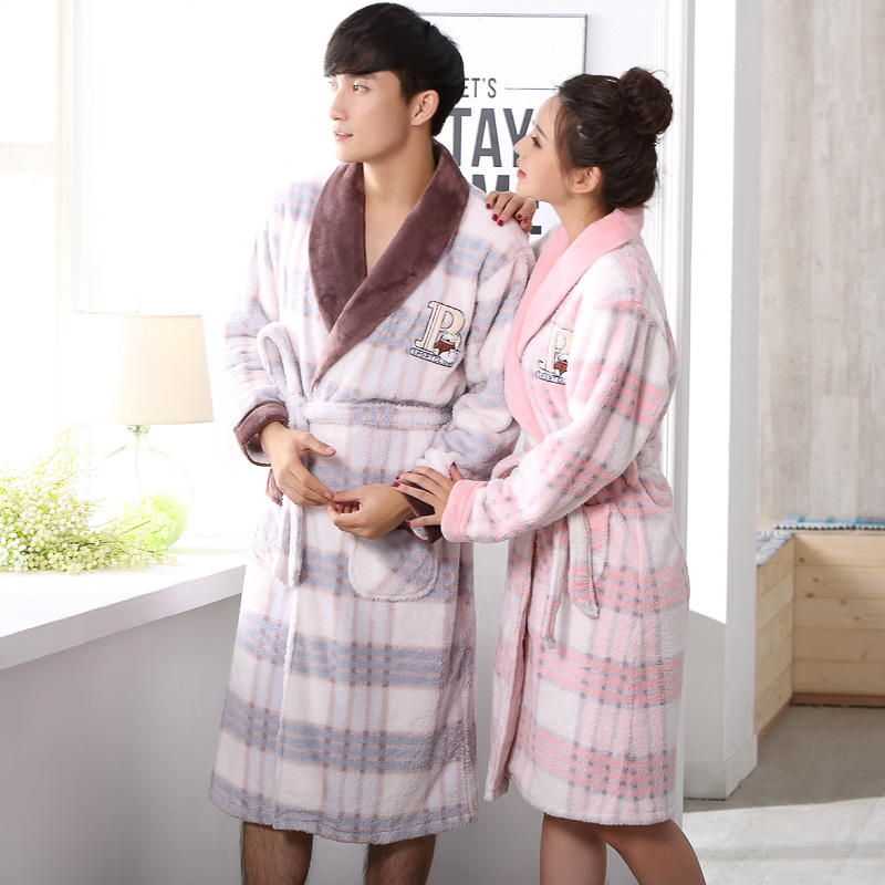 46c2ecd41f 2015 autumn and winter lovers flannel robe winter long-sleeve male womens thickening  coral fleece robe bathrobes