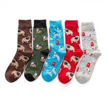 New Men s Socks colorful Autumn dog sock in tube Socquette casual cotton socks EU41 46
