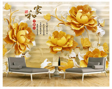 beibehang Customized beautiful classic fashion 3D embossed jewelry tulip TV background thick silky papel de parede 3d wallpaper