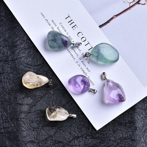 1PC Natural Amethyst Yellow Crystal Fluorite Pendant Crystal Rock Fashion Mineral Ornament Couple Decoration DIY Fashion Gift