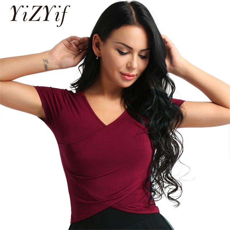 Women Deep V-Neck Front Surplice Wrap Crop Top Yoga Belly Latin Dance Tops Shirt