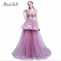 modabelle Purple Floral Sexy Prom Dresses 2018 Beaded Flower Appliques Tulle Long Evening Gowns Party Kleid Lang