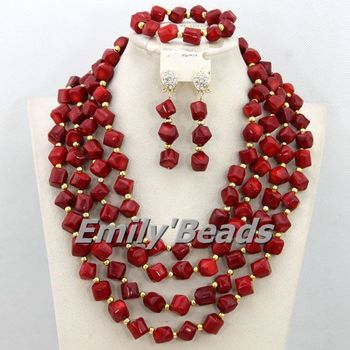 Wonderful African Wedding Jewelry Set for Women Red Nigerian Bridal Coral Beads Jewelry Set 2015 New Free Shipping CJ378