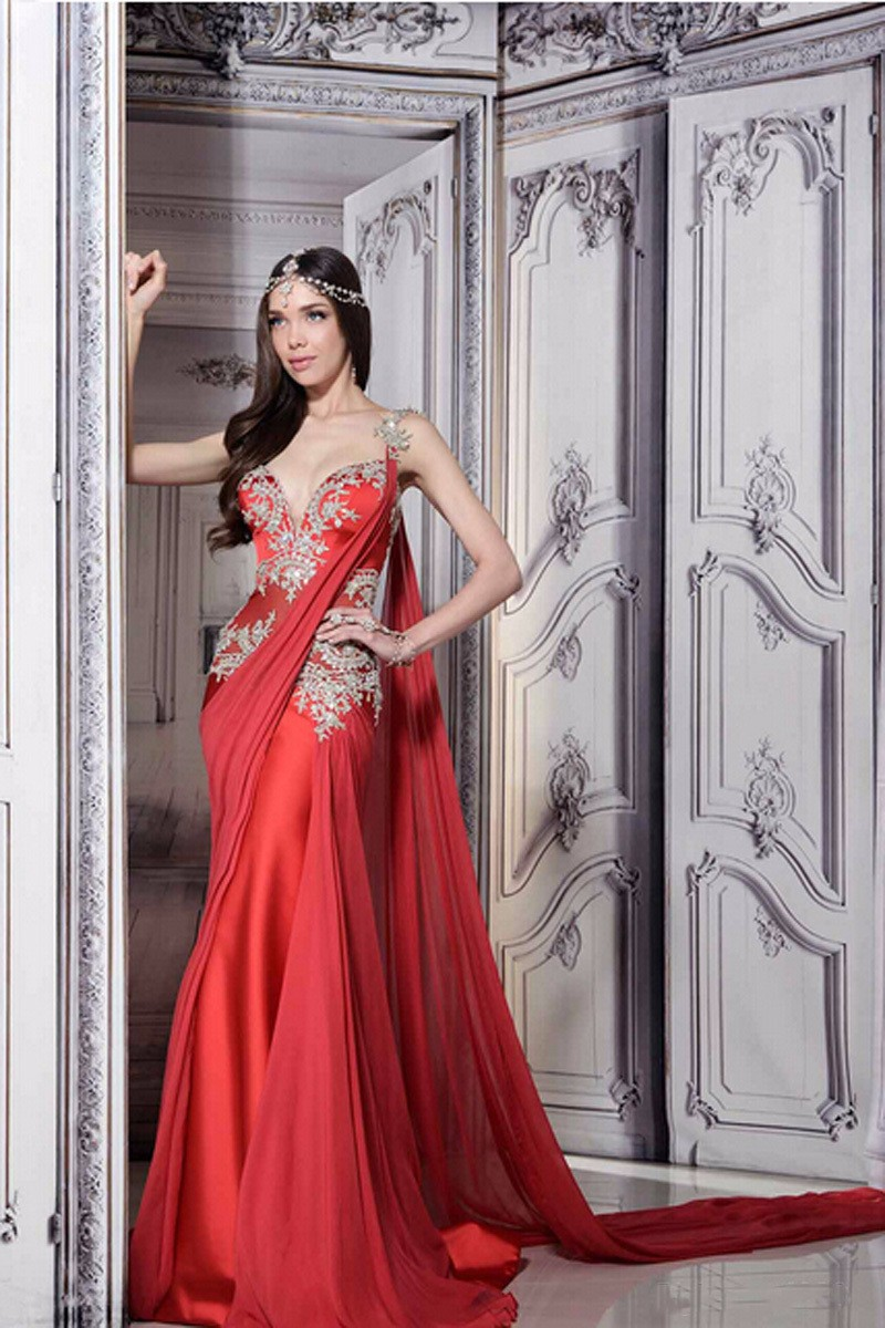 2016 romantic dress marriage dear lace mermaid Saree India chiffon dress evening dress GF471 Spaghetti red skirt