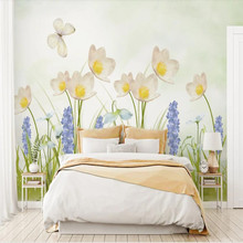 Factory direct modern minimalist hand-painted garden small fresh floral background wall paper mural