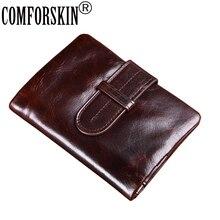 COMFORSKIN Brand Bi-fold Short Men Purses Retro Guaranteed Oil Waxing Leather 2018 Large Capacity Zipper Wallets Coin
