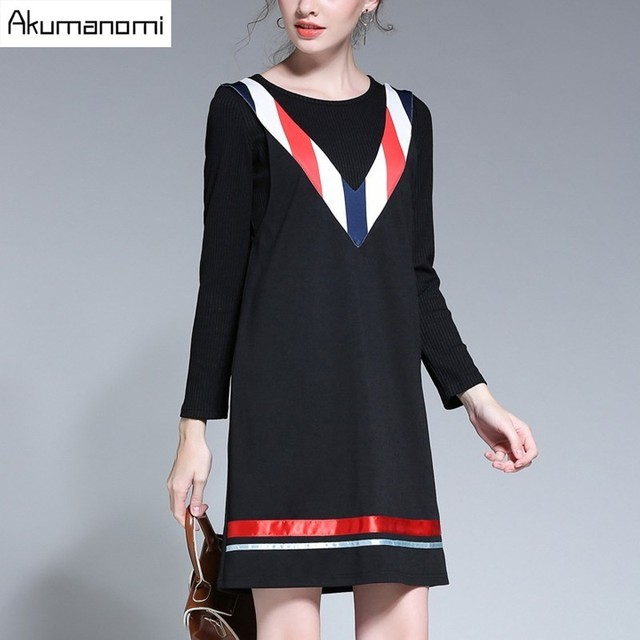 2 Piece Set Black Full Sleeve Knit Sweaters And V-neck Panelled Patchwork Sundress Women Clothes Spring Two Piece Set Plus Size