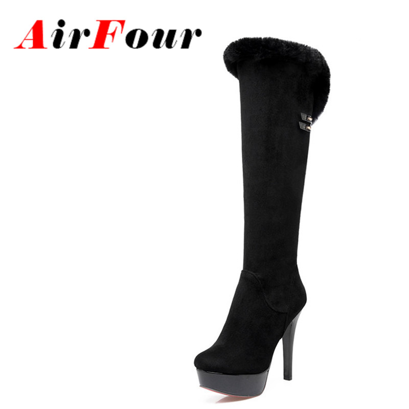 ФОТО Airfour High Heels Charms Shoes Woman Classic Black Shoes Round Toe Platform Zippers Knee-high Boots for Women Motorcycle Boots