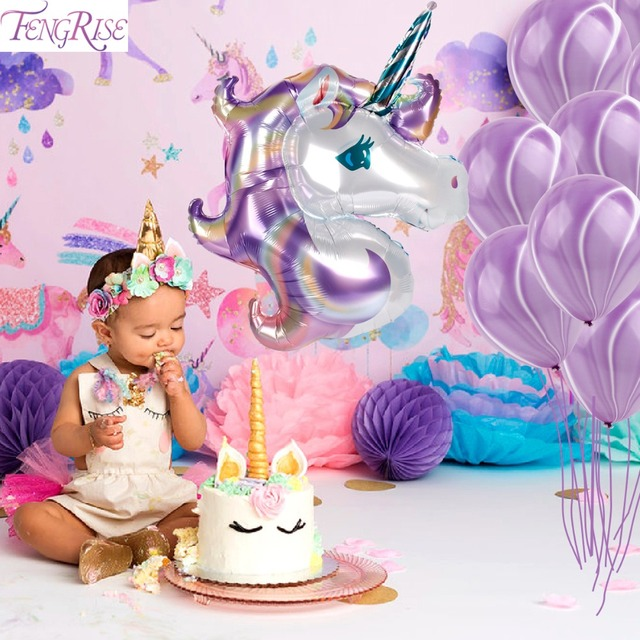 FENGRISE 39inch Unicorn Balloon Balloons Party Birthday Decoration Baby Kids Favors Foil Wedding Supplies