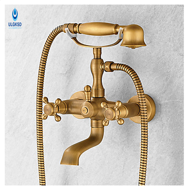 ULGKSD Antique Brass Bathroom Shower Set Faucet Tele-shaped Handheld Shower Sprayer Hot and Cold Water Mixer Taps W/ Tub Filter vintage retro antique brass wall mounted bathroom handheld shower faucet set bath tub mixer tap crs019