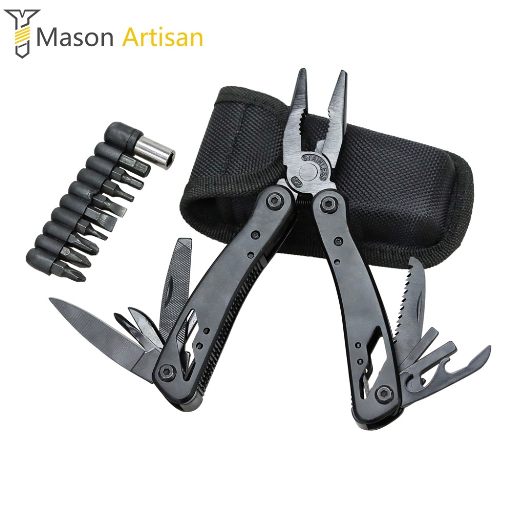 1Piece Multi Tool Folding Pliers with Knife Screwdriver Bits Camping Survival Outdoor Multitool Hand Tools Cycling Multitul rdeer multifunction cutting pliers multitool diy outdoor stainless steel folding with knife screwdriver hand tools