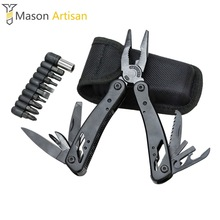 1Piece Multi Tool Folding Pliers with Knife Screwdriver Bits Camping Survival Outdoor Multitool Hand Tools Cycling