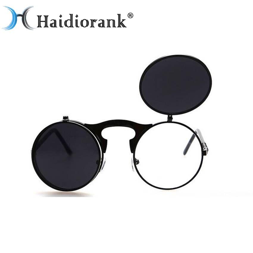 Steampunk Lunettes de Soleil Pour Hommes Gothique De Luxe Marque Designer  2017 Hippie Vintage Rétro lunettes de Soleil Rondes Noir Vapeur Punk  Lunettes e6798deac3dd