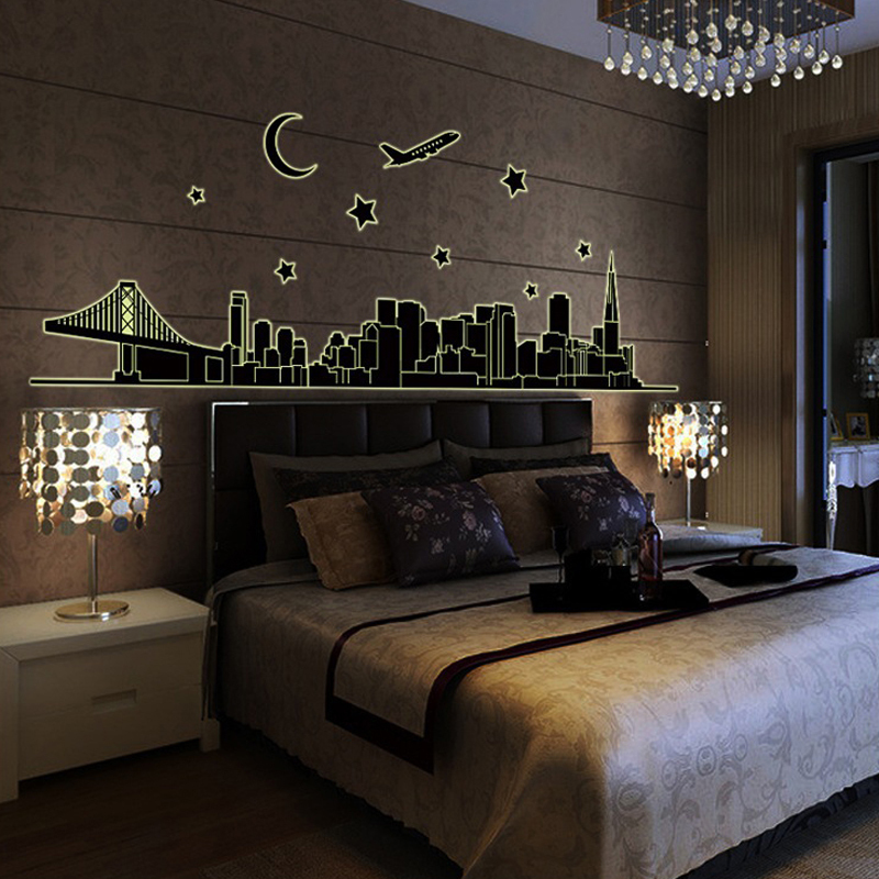 1pcs Fashion Night City Wall Sticker Noctilucent Decals Poster Glow In Dark Wallpaper Living Room Showcase House Home Ornament Stickers From