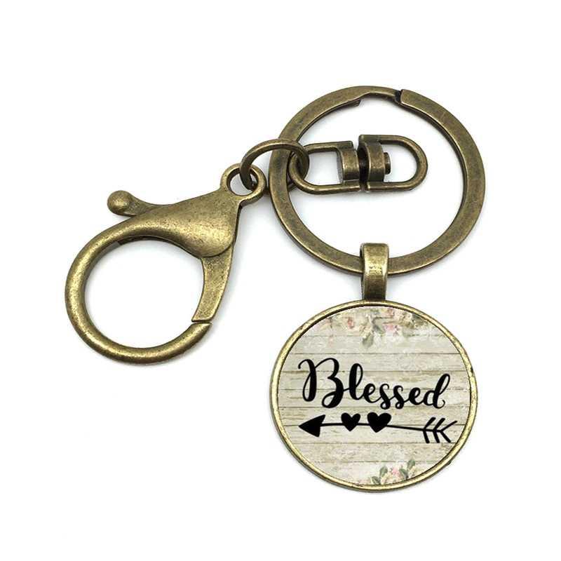 2019/nova venda quente para o seu presente, charme Fé, EU sou muito sortudo, atraente vidro liga Keychain