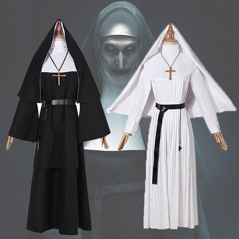 Adulte Halloween carnaval Costumes la vierge marie Costume Cosplay Sexy catholique nonne Robes vêtements foulard croix Costume