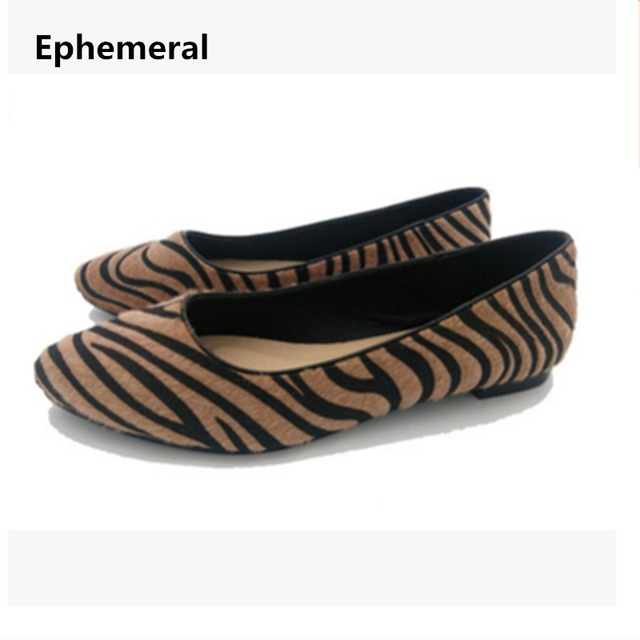b448e8342d10 Ladies flats shoes horse hair new arrivals 2018 loafers women leopard print  slip-ons comfortable pointed toe plus size 45 46 44