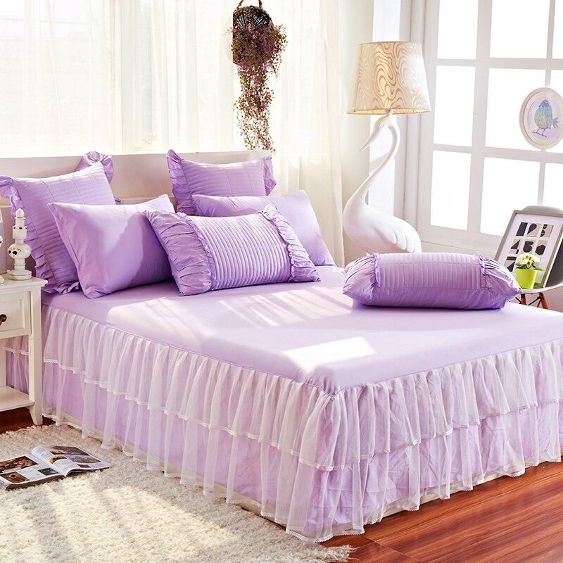 Bedsheet With Skirt Purple Ruffle Bedding Bed Spread Set Ruffled Bedspread