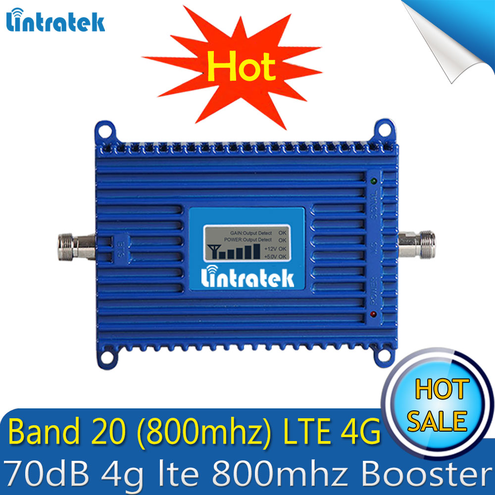 Lintratek Repetidor LTE FDD 800Mhz (Band 20) 4G Signal Booster 70dB Cellphone Cellular 4g Lte 800mhz Signal Repeater Amplifier