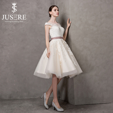 JUSERE Light Champagne Bridal Gown A line Mariage Lace Illusion Cap Sleeve Jewel Neck Satin Lining Short Wedding Dress 2017