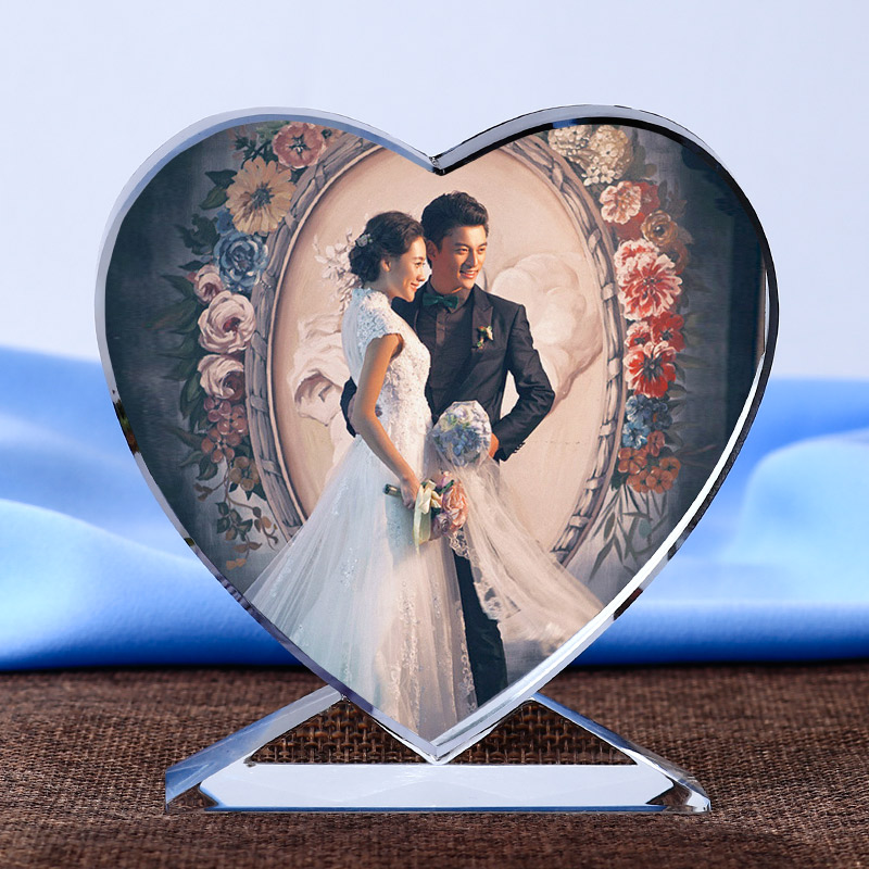 Personalizzato a forma di cuore Photo Album Ornamenti in vetro Personalizzato Picture Pasting Glass Miniature Home Decor FAI DA TE Regali d'amore