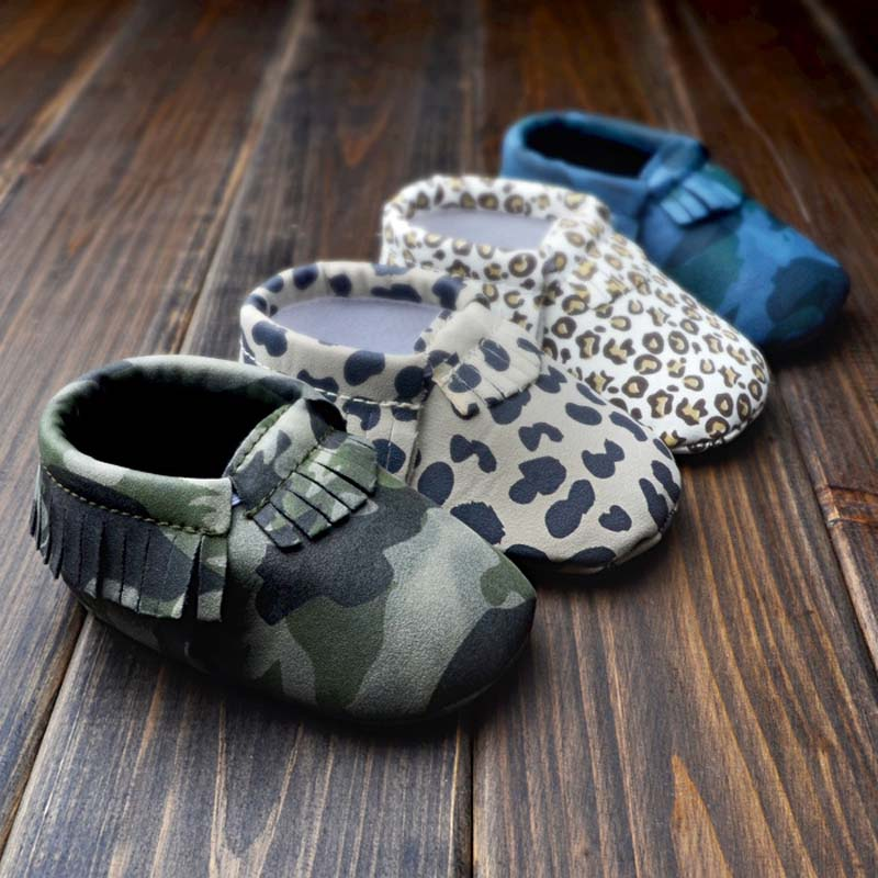 Retail Camo Leopard Baby Moccasins Baby First Walker Moccs Soft Sole Tassels Camouflage Toddler Infant Shoes calcados bebe