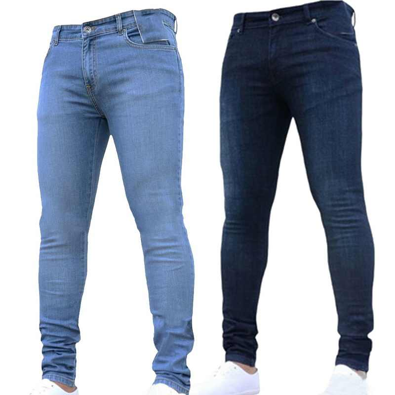 6647c3ffe4e LASPERAL Hip Hop Men s Casual Stretch Skinny Blue Jeans Trousers Tight Pants  Solid Color Jeans Slim