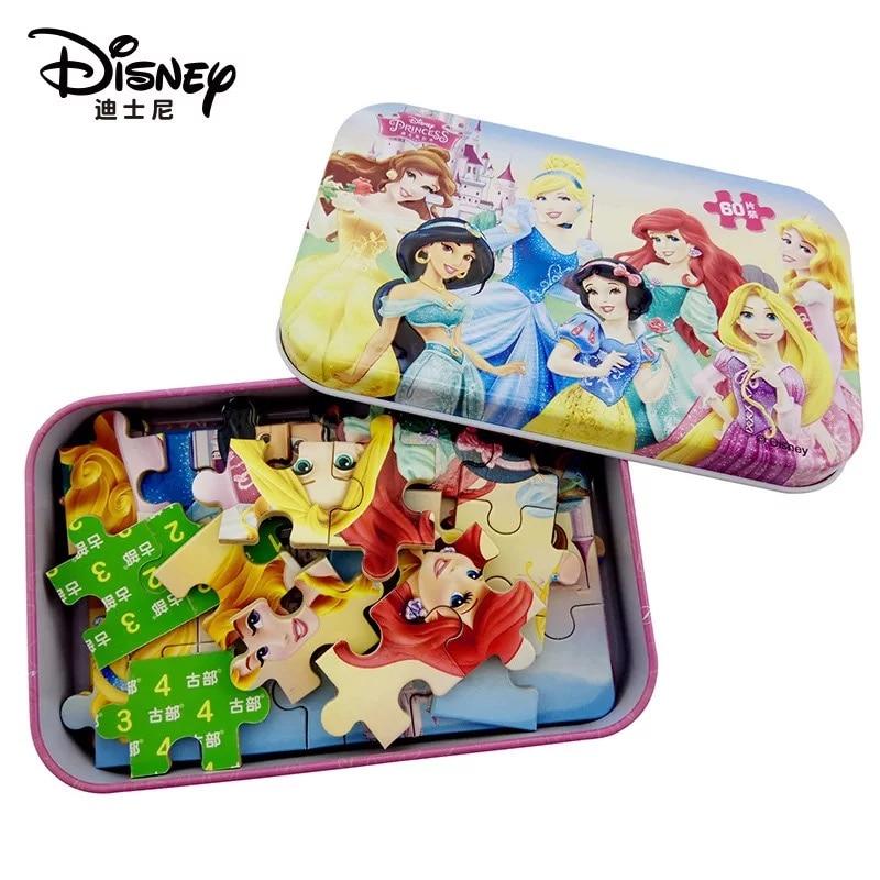 Original Disney Princess Frozen Mickey 60 Piece  Puzzle Early Education Children Bottom Box Puzzle Toys For Children Hot Sale