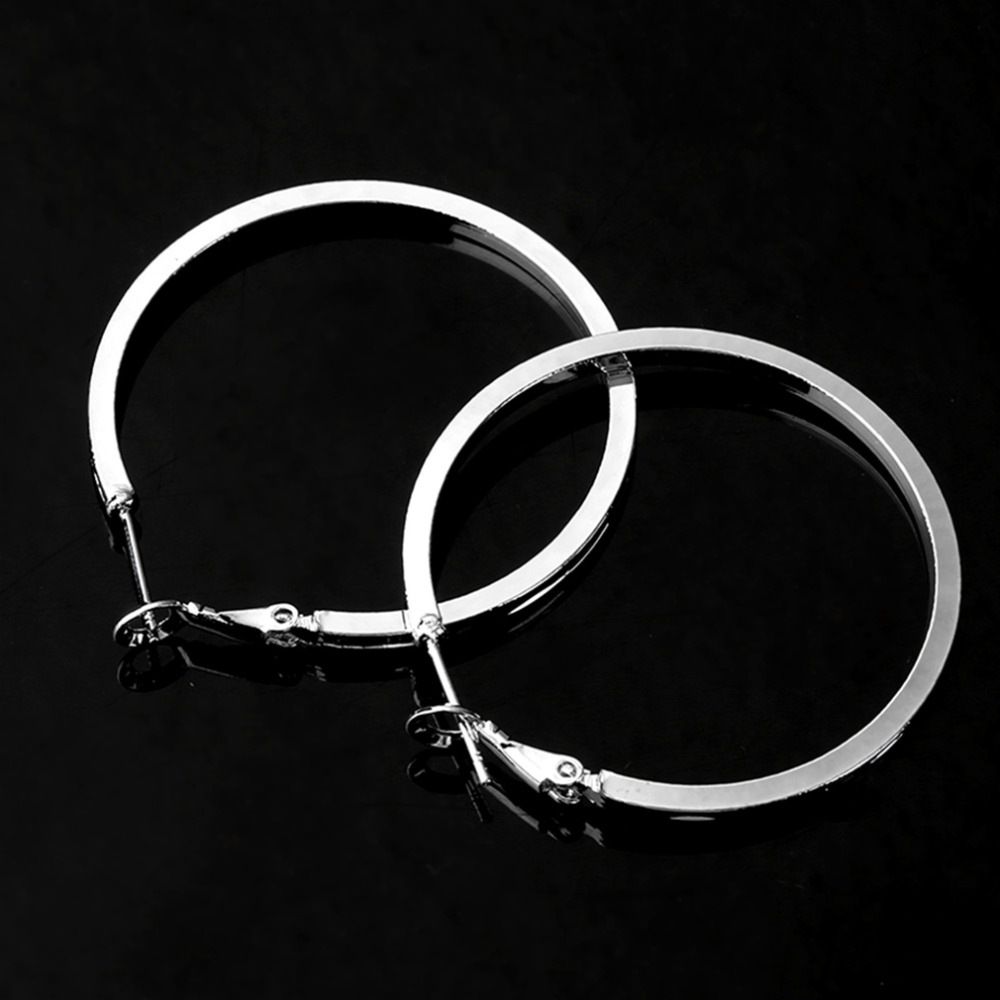 Genboli Stylish Silver Plated Round Hoop Earrings Women Loop Celebrity  Brand Office Party Gift Bijoux Classic