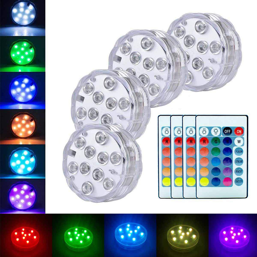 Battery Operated 10leds RGB Led Submersible Light Underwater Night Lamp Garden Swimming Pool Light for Wedding Party Vase Bowl