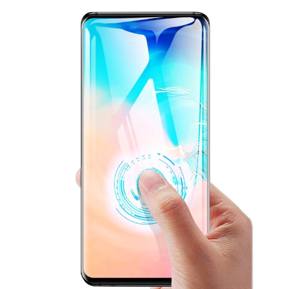 10 pz/lotto della copertura Completa di vetro temperato Per Samsung galaxy S10 PIÙ S10E S9 S8 NOTA 8 9 10 protezione dello schermo impronte digitali di Sblocco flim