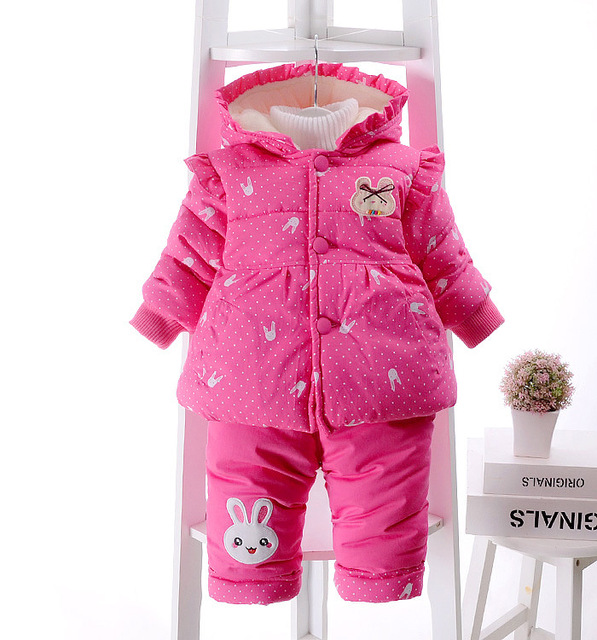 Russia autumn winter 2018 cotton-padded jacket pant clothes set kids grils outdoor wear children's costumes baby toddler girls