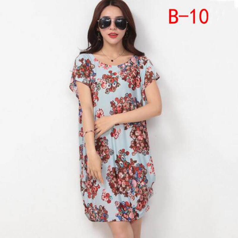 New Arrivals Soft Elegant Women Flower Printed Dresses Ice Silk Beach Dress Loose Casual O-neck Free Size Female Clothings Gifts