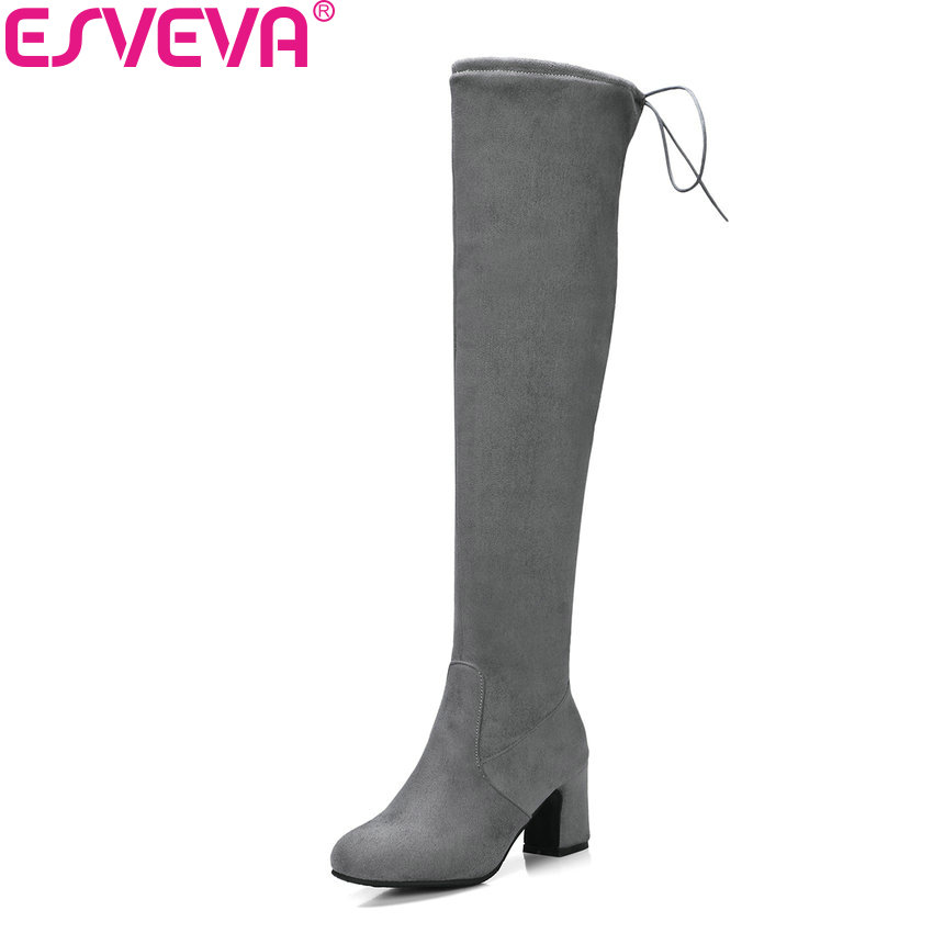 цена на ESVEVA 2018 Women Boots Suede Leather Over The Knee Boots Short Plush Round Toe Square High Heel Ladies Long Boots Size 34-43