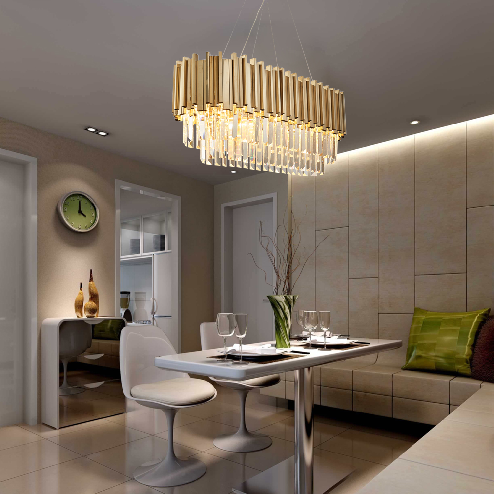 Dining Room Modern Crystal Chandelier Luxury Oval Hanging Light 1